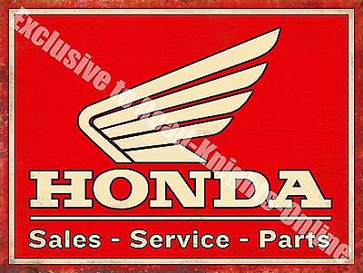 Honda Classic 70's Retro Motorcycle, Bike 108 Old Garage, Small Metal Tin Sign