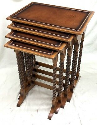 Walnut QUAD Nest of 4 Occasional / Coffee Tables Lamp Stands : Antique Style