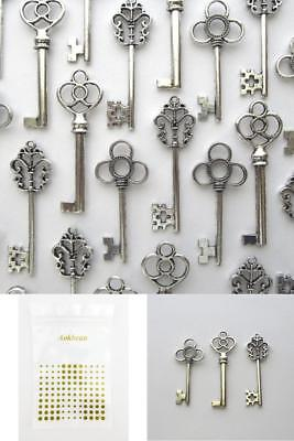 Aokbean Vintage Skeleton Key In Antique Silver Style Set Of 30pcs Silver Design