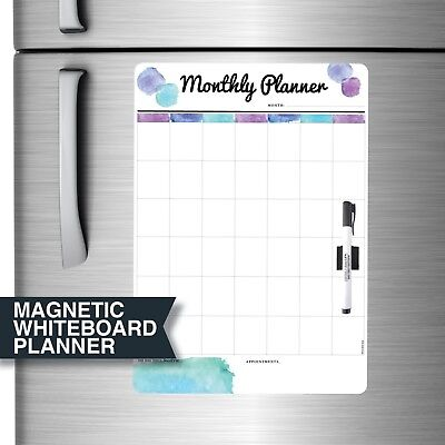 Magnetic Monthly Dry Erase Whiteboard Calendar 30cm x 42cm - Free Marker & Clip.