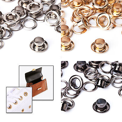 100 Eyelets Grommet Chrome Plated Rust Proof Brass Based DIY Clothing Crafts Bag