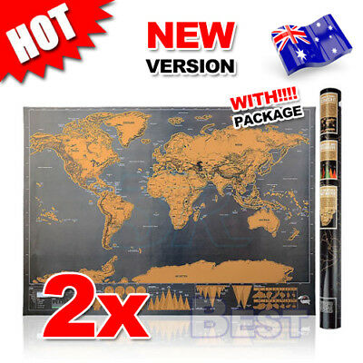 2X Deluxe Large Scratch World Map Personalized Travel Poster Travel Atlas Decor