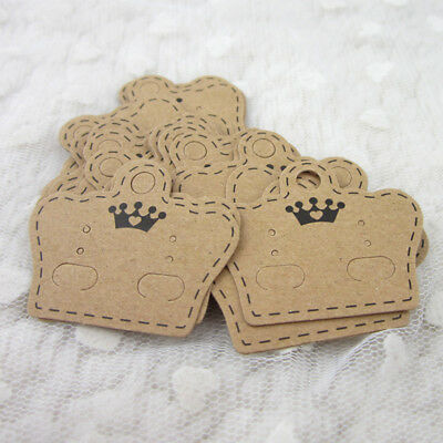 100pcs Krafts Earring Display Hang Cards Holder For Charm Jwewlry Packing Boards