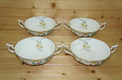 "Coalport Royal Cauldon Marlborough (4) Cream Soup Bowls, 5 1/4"" & (4) Saucers"