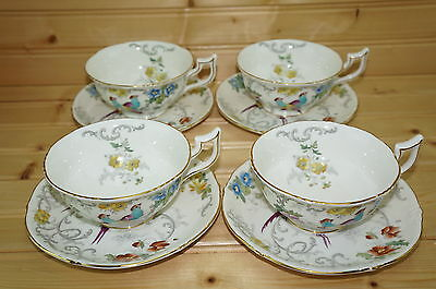 "Coalport Royal Cauldon Marlborough Set of (4) Footed Cups, 2 1/8"" & Saucers, 5¾"""