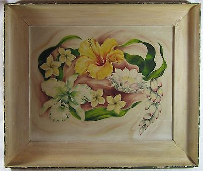 Hawaii Territory Tropical Flowers Painting Orchid Ginger Tiki Bar Vtg Oahu 1945