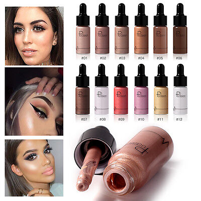 12Color Highlighter Liquid Shimmer Contour Brightener Beauty Makeup Cosmetic Kit