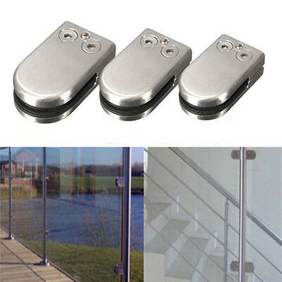 4/8/12X 304 Glass Clamp Clip Stainless Steel Flat Back Bracket Fr Stair Handrail