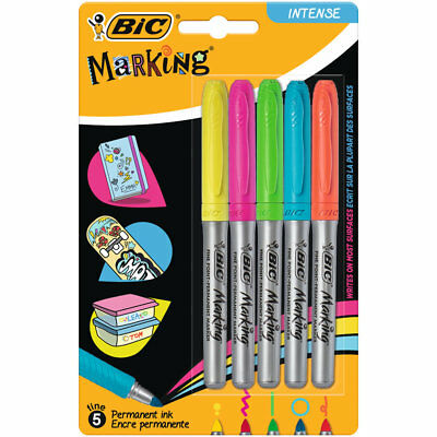 Bic 5x Permanent Markers Fine Tips Colour Intense, YELLOW PINK GREEN ORANGE BLUE