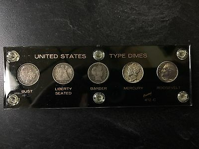 United States 5 Coin Dime 10 Cent Type Set With Holder