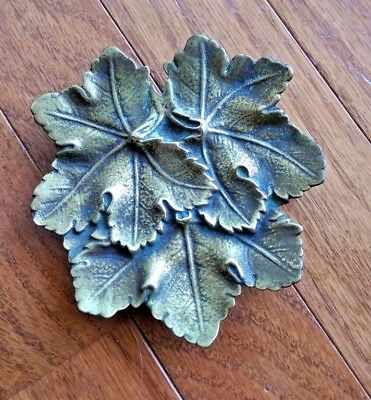 Vintage Brass Leaf Dish - Made in USA - Solid Brass