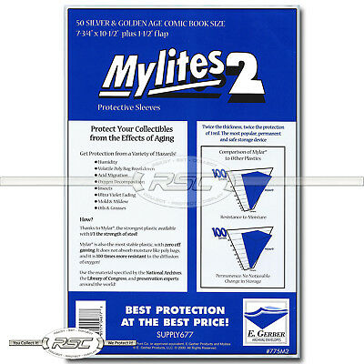 50 - Mylites 2 Silver & Golden Age 2-Mil Mylar Comic Bags by E. Gerber - 775M2