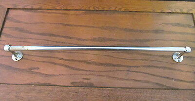 "Vintage 18"" Small Slender Towel Bar Chrome Over Brass Old Under Cabinet Wall"