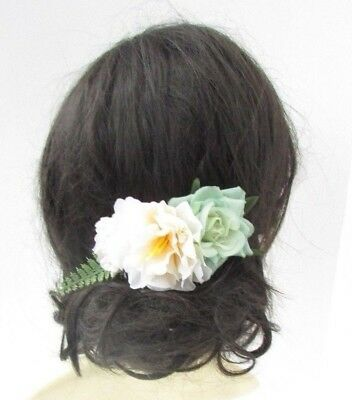 Mint Green Blush Pink Cream Rose Flower Hair Comb Bridesmaid Fascinator 4946
