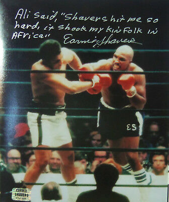 #1 Earnie Shavers Signed Muhammad Ali Fight 8X10 Photo / Large Inscription Nice