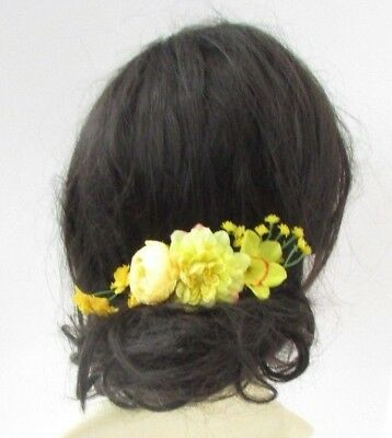 Yellow Daffodil Rose Flower Hair Comb Bridesmaid Fascinator Spring Floral 4947