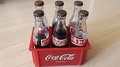 6 Miniature Bottles Of Coca Cola With Its Drawer, Ancient, Different Countries