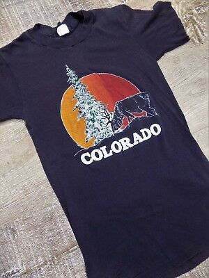VTG 80's Colorado T-Shirt Graphic Tee 50/50 XS XXS Women's Fitted 1981 Faded