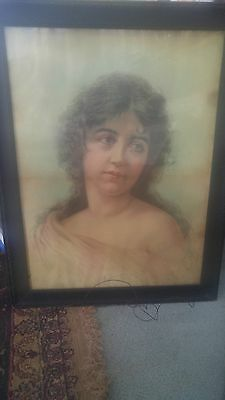 Old Antique  Watercolor Portrait Painting Victorian Woman Lady Girl Face