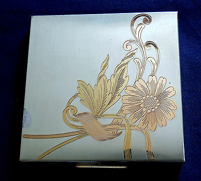 Vintage Elgin American Sterling Silver Gold Plate Ladys Square Compact