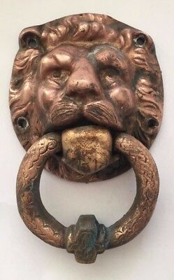 Vintage Antique Decorative Brass Lion's Head Door Knocker