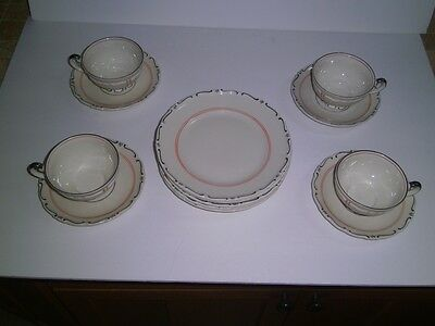 Mitterteich 4 Cup-Saucer Sets/5 Dessert Plates Bavaria GERMANY Vtg black scroll