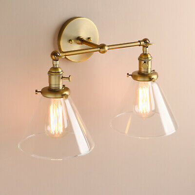 """7.2"""" Retro Sconce Wall Light Dual Double Shades Vintage Wall Lamp w/Switches"""