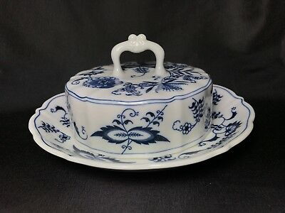 Blue Danube Blue Onion Round Covered Butter Dish