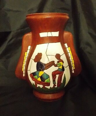 Signed Keramos Art Pottery Vase #727 Made in Israel Hand Painted