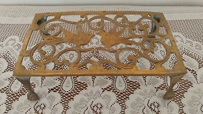 Vintage Arts and Crafts Style Brass Trivet w Bird Design on 4 Footed Legs Unique