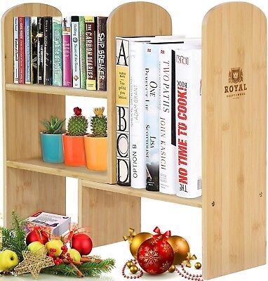 Expandable Natural Bamboo Desk Organizer Accessory - Adjustable Desktop Shelf...