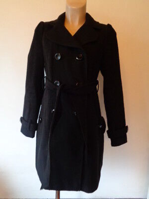 Red Herring Maternity Stylish Black Double Breasted Mac Jacket Coat Size 10