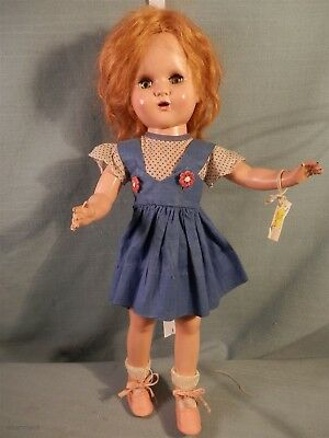 """Vintage Horsman Hard Plastic Bright Star? Doll Mohair Org Clothes 15"""" 1940's"""