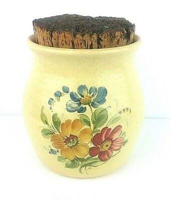 Hyalyn NC Pottery Vintage Vase Canister Yellow Floral Ceramic Pot & Cork 940 USA