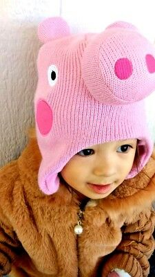 PEPPA PIG Face Hat & Mittens Infant Toddler Kids Set Official - New With Tags