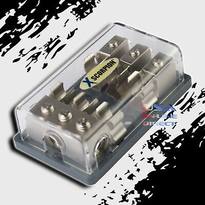 Agu Glass Fuse Platinum Distribution Block (3)2/4 Ga In Three 8 Gauge Out 12V