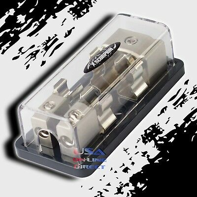Agu Glass Fuse Platinum Distribution Block 2/4 Awg Ga In Two 8 Gauge Out 12V