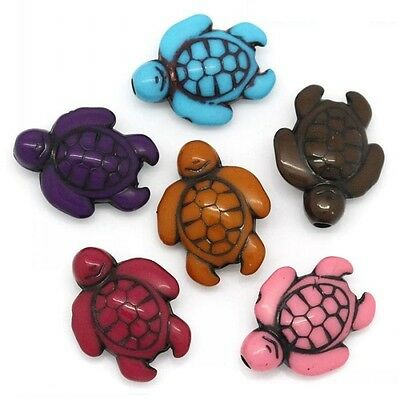 Lot 10 Perle Tortue Acrylique 18mm x 15mm Tortues souriante, Creation Bijoux ...