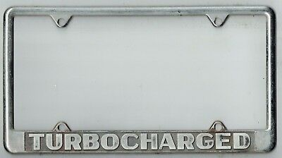 "RARE 1970's ""TURBOCHARGED"" Vintage California NHRA Racing License Plate Frame"