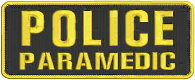 POLICE PARAMEDIC Embroidery Patches 4x10 hook all gold