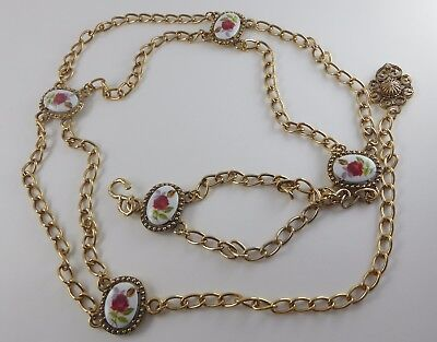 Vtg. Gold Tone Swag Chain Belt w/White Porcelain Style Rose Cabochons