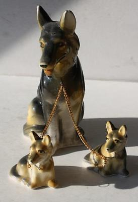 Set of 3 German Shepard Dog Figurines with Chain-Hand Painted-Ceramic-Porcelain