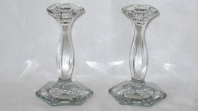 """Heisey Glass #5 Patrician Candlesticks Candle Holders in Crystal 6 1/4""""  - Pair"""
