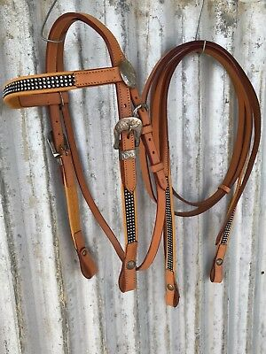 Western Bridle and Split Reins with diamonties -  Small Pony