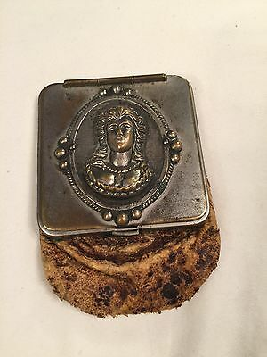 Antique Victorian Leather Change Purse Repousse Metal Cameo Bust