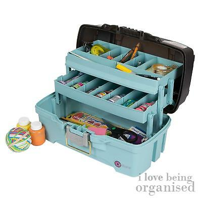 Medium Two Tray Craft Box (Aqua & Grey) Arts Crafts Hobby Organiser