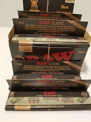 AUTHENTIC Raw Classic Black King Size Slim Full box 50 Packs  Raw Papers.