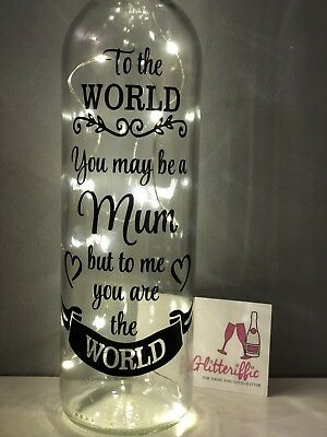 Mum To Me You Are The World Diy Wine Bottle Vinyl Decal Sticker Mothers Day Gift