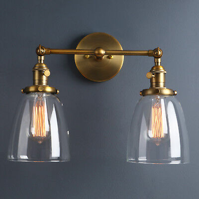 """5.7"""" Retro Sconce Wall Light W/Twins Cloche Shades Filament Vintage Wall Lamp"""
