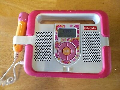 Fisher Price Kid Tough MP3 Music Player Microphone Karaoke Pink Stereo NO Mic